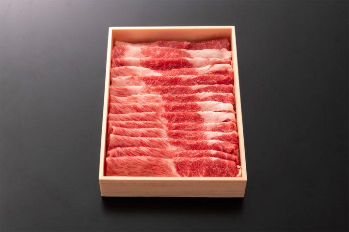 若狭牛特選すきやき用 600g おもたせ用折箱入り | 牛若丸精肉店